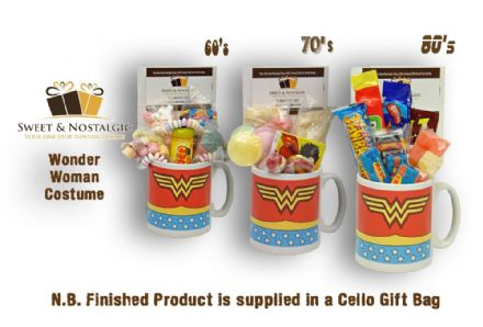 Wonder Woman Costume Mug with/without a lush selection of 60's, 70's or 80's retro sweets